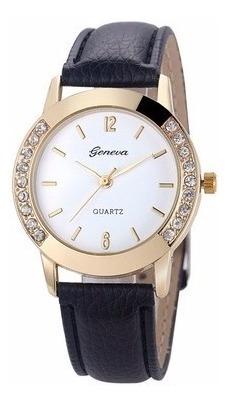 Relógio Feminino Geneva De Luxo Quartzo Com Caixa