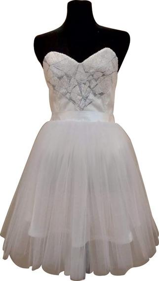 Vestido 15 Años Corto Tul Blanco Corset