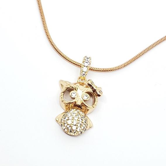 Collar De Buho 2.3 Oro Rosa Laminado Zirconias Envio Gratis