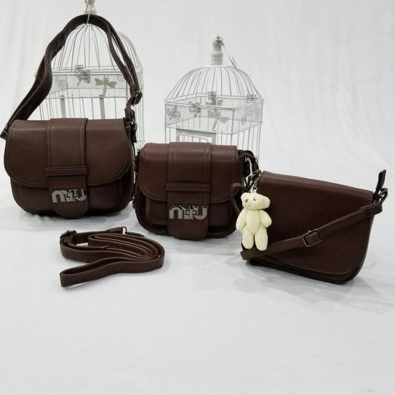 Bolsa Feminina Kit Com 3 Peças De Couro Sintético Forrada
