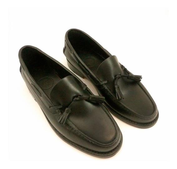 Zapato Mocasín Suela Clásico Negro Pompón
