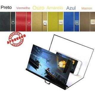 Projetor Tela Amplia Celulares Smartphone Madeira Imagem 3d