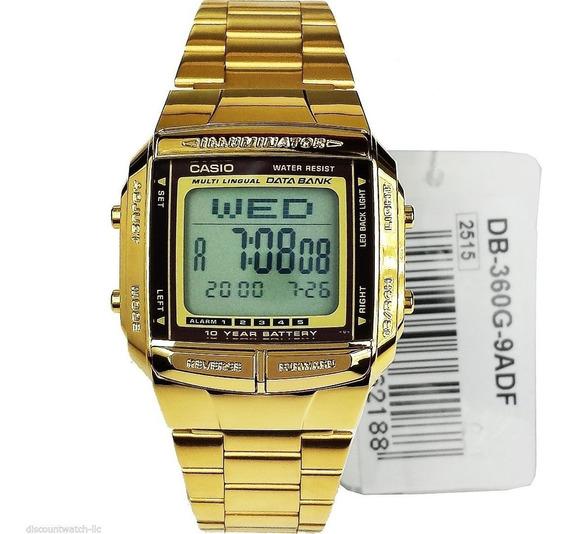 Relógio Casio Db-360g-9a Dourado Retro Databank