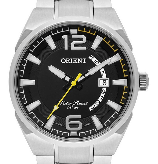 Relógio Orient Masculino Prata Fundo Preto Mbss1336 P2sx