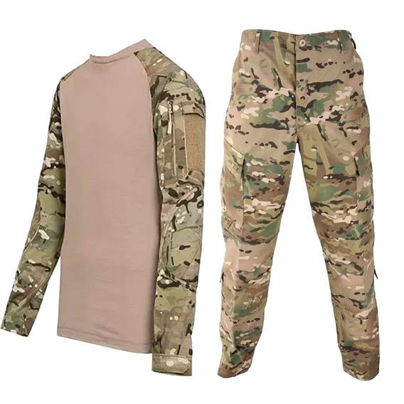 Uniforme Tactico Multicam Combat Shirt Y Pantalon Rip Stop