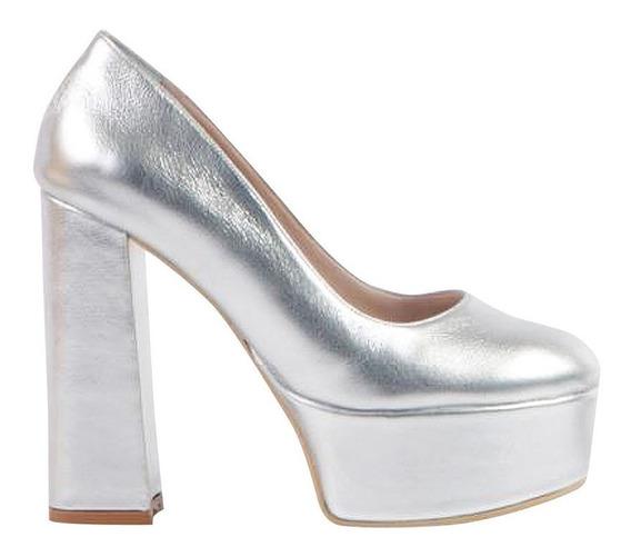 Zapato Dama Micheluzzi De Cuero Cerrado C/plataforma 200d