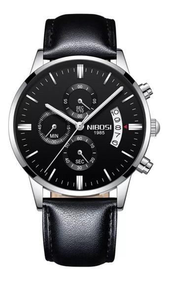 Relógio Nibosi 2309 Prata Pulseira De Couro Funcional Prova D