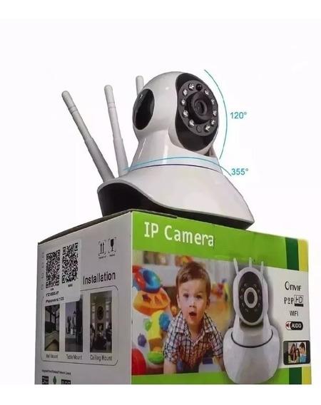 Câmera Ip Sem Fio 360° 3 Antenas Hd Wifi Rj45 Visão Noturna