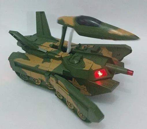 Tanque De Guerra Militar Vira Avião Carro Emite Som Bate Vol