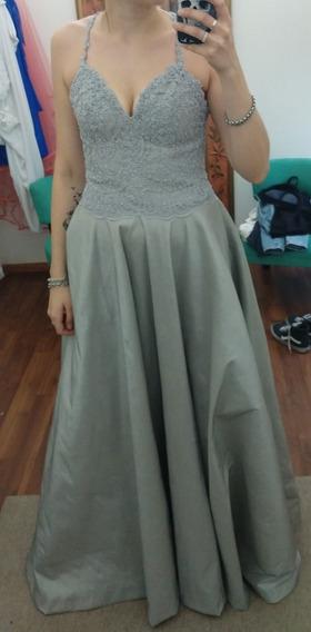 Vestido Largo Gris Plata Novia O Quinceñera