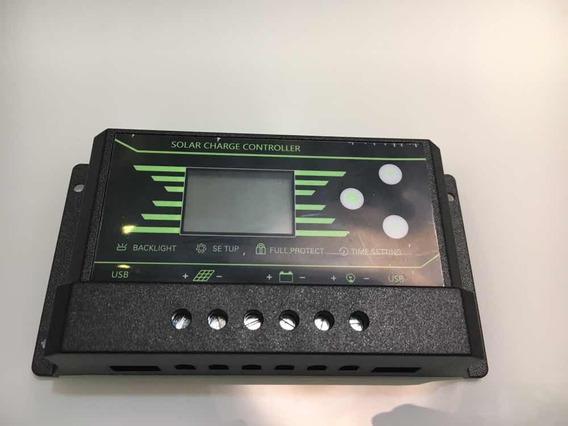 Controlador De Carga Painel Solar 30a 12v 24v 2 Usb Novo