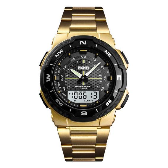 Skmei 1370 Relógio Quartzo Cinta Aço Aço 50m Relógio À Prova