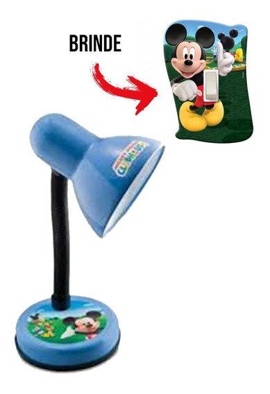 Luminária Abajur Mesa Infantil Quarto Mickey Mouse + Espelho Interruptor Brinde Mickey Clube Criança Infantil Menino