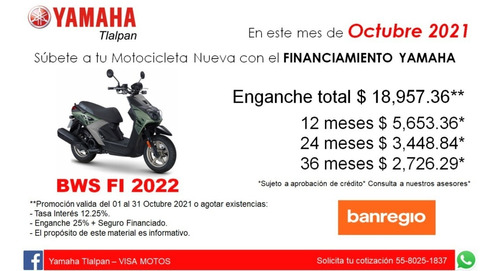 Imagen 1 de 7 de Yamaha Bws Fi 125cc Nueva 2021
