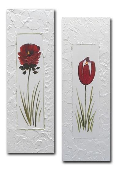 Par De Quadros Tela Pintura Floral Vermelho 20x60 R1
