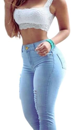 Imagem 1 de 4 de Calça Jeans Feminina Rasgada Lycra Skinny Destroyed Cj006