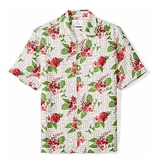 Camisa Hawaiana Hombre Floreada Seda Con Lino Manga Corta 1