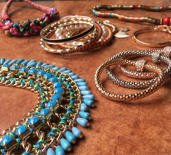 Collar Azul Elegante Fiesta Bisutería Fina Dorado Cadena
