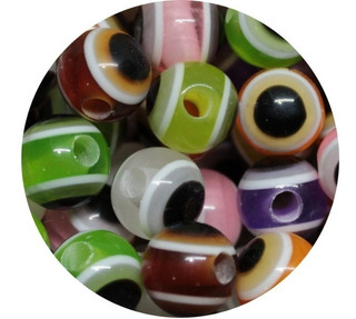 Miçanga Olho Grego Coloridas - Furo Grande 3,2mm