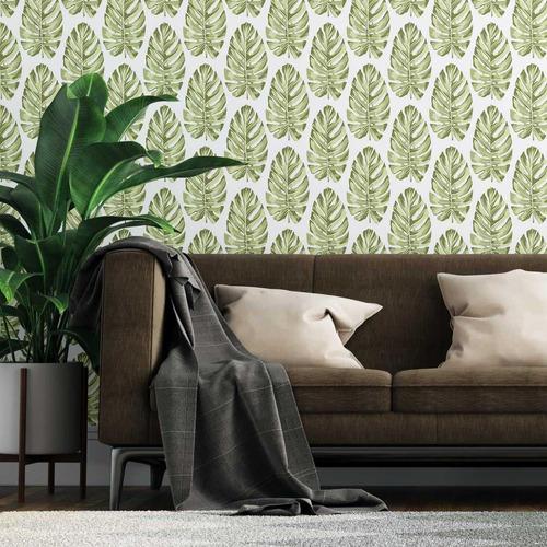 Papel De Parede Adesivo Folha Costela De Adão Verde N07075 0