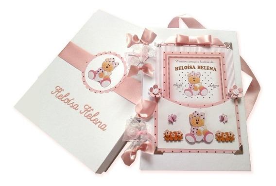 Álbum Livro De Bebê Menina Ursinha Scrapbook Fotos Com Caixa