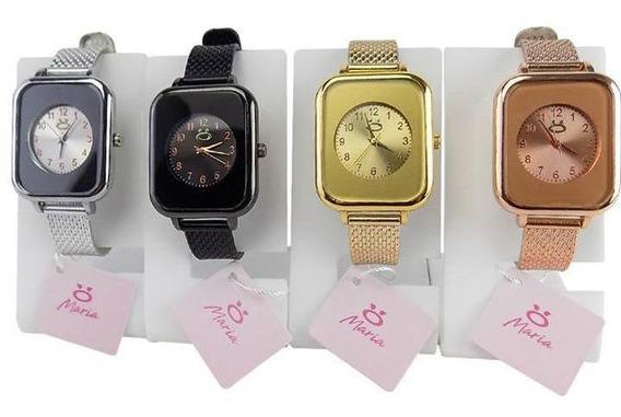 Kit 4 Relógios Femininos Maria Analógico Pulseira Ajustável