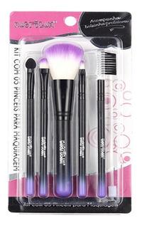 Kit Pincel Para Maquiagem Com 5 Pinceis Macrilan
