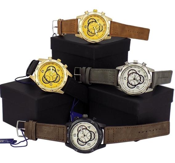 Kit 4 Relógios Masculino Dourado Original Couro Atacado