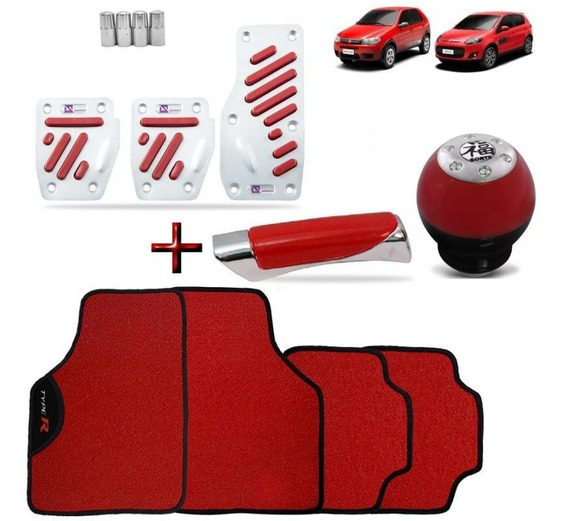 Kit Tuning Red Palio Tapete Pedaleira Manopla Bola Cambio