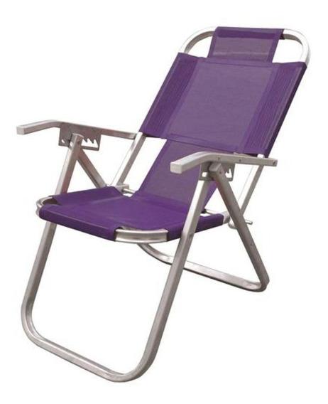 Cadeira De Praia Alumínio Grand Ipanema Extra Alta - Roxa