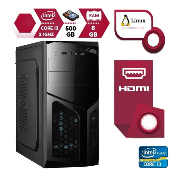 Computador Intel Core I3 3.1ghz 8gb Hd 500gb Hdmi Linux