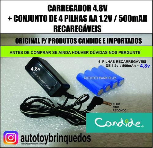 Carregador 4.8v (plug Redondo) + 4 Pilhas Aa Recarregáveis
