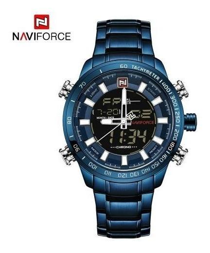Relógio Masculino Esportico Naviforce 9093 Original Militar Digital Analógico Quartzo Elegante Aço Inoxidável