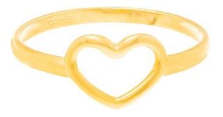 Anel Skinny Ring Rommanel Banhado Ouro Coração Vazado 512711