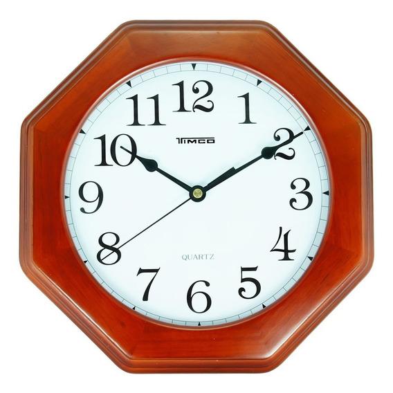 Reloj De Madera Hexagonal Chico 27.5 Cm 3916