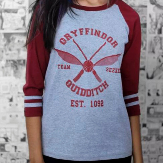 Camiseta Raglan Feminina Quadribol Grifinória - Harry Potter