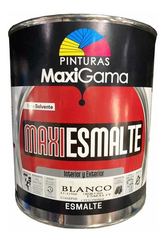 Imagen 1 de 4 de Pintura Esmalte Negro Mate Aceite Maxi Gama Galón