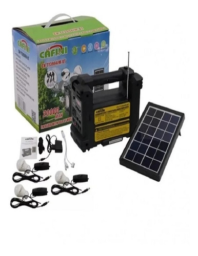 Kit Solar Portátil+panel Solar+3 Focos+radio Fm/ Cafini