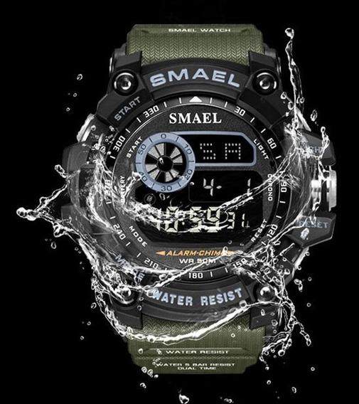 Relógio Smael 8010 Verde Militar/ Promoção /pronta Entrega