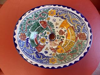 Lavabo Ovalin Artesanal De Peces En Talavera Estilo Antiguo.