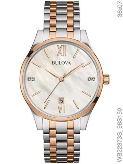 Relógio Bulova Feminino Prata E Rosé Fundo Perolado Wb22373s