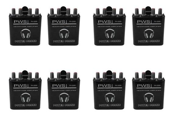 Kit Amplificador De Fone De Ouvido Ph-2000 2w 2 Canais 8 Und