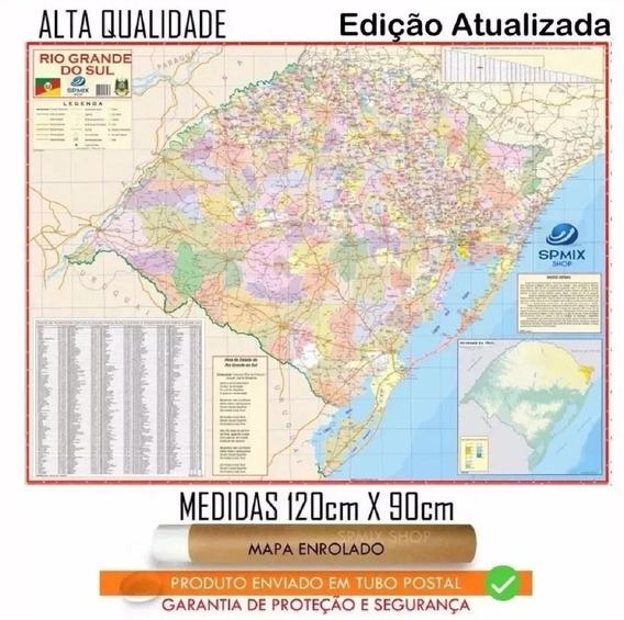 Mapa Rio Grande Do Sul 120 Cm X 90 Cm Enrolado