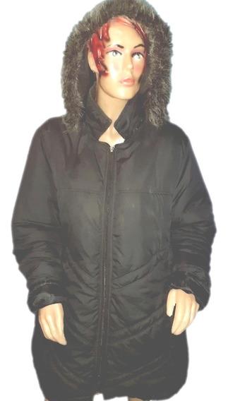 Tapado Semi Inflable,largo,capucha Con Piel,talle Xl