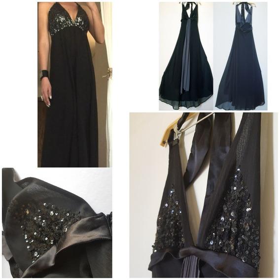 Vestido Fiesta Negro Largo Materia T:l+regalo