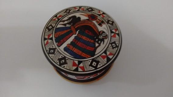 Porta Jóias Circular - Cerâmica Com Desenhos Pré-colombianos