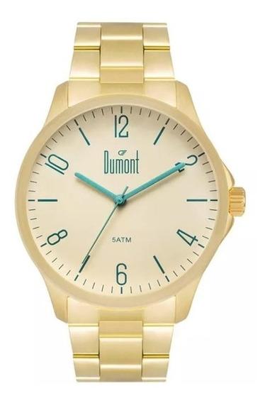 Relógio Dumont Masculino Ref: Du2035lvu/4x Casual Dourado