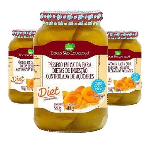 Imagem 1 de 2 de Kit 3 Und Pessego Em Calda Diet Sâo Lourenço 580g