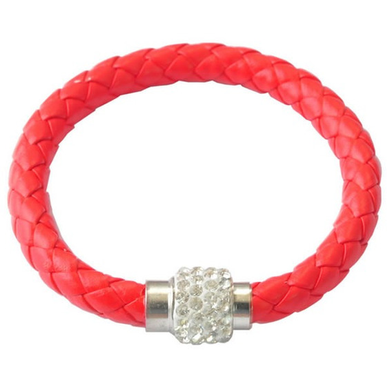 Kit 4 Pulseiras Couro Strass Feminina Bracelete Magnético