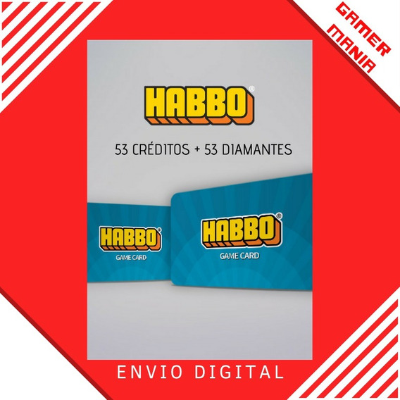 Cartão Habbo 53 Créditos + 53 Diamantes - Habbo Club Brasil